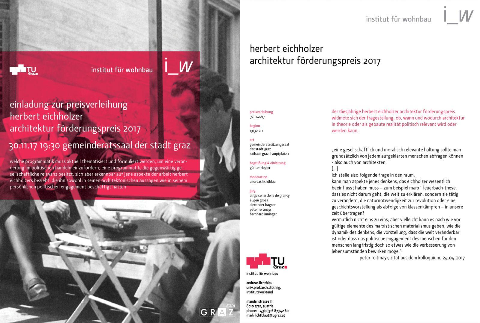 preisverleihung herbert eichholzer architektur förderungspreis 2017
